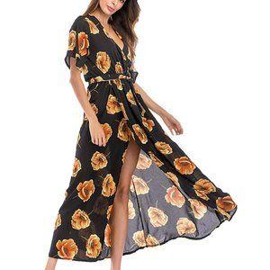 Women's US Size 4-6 Maxi Slit Floral Dress Black